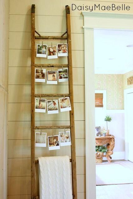 Vintage-Ladder-Photo-Display