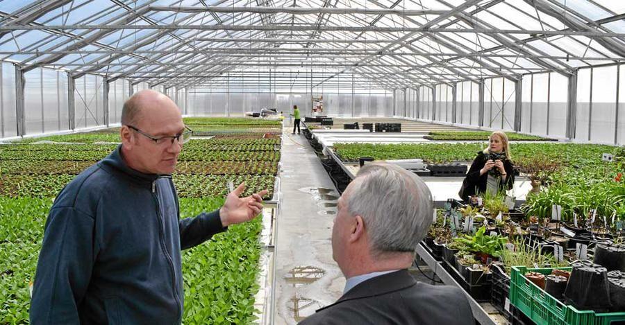 Mikael Johansson visar det nya växthuset på Ingvalds Trädgård för landsbygdsminister Sven-Erik Bucht.