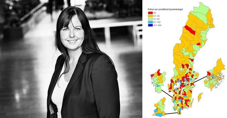 Charlotta Mellander till vänster, till höger kartan över landets alla kommuner.