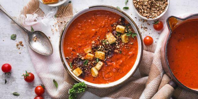 Eldost-stroganoff med röda linser och ris