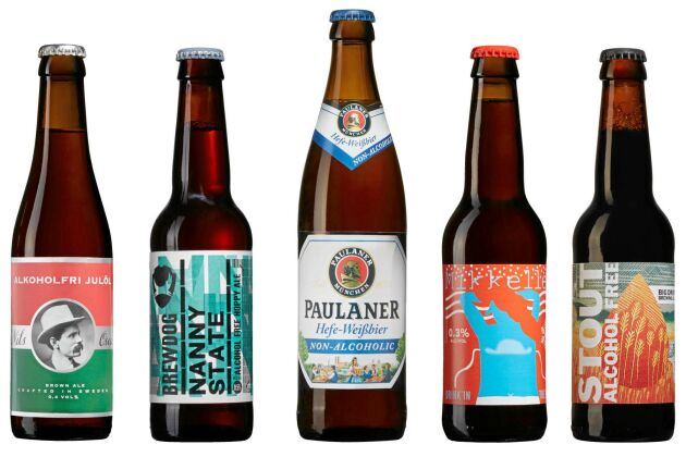 Fem alkoholfria alternativ som kan hittas på Systembolaget.