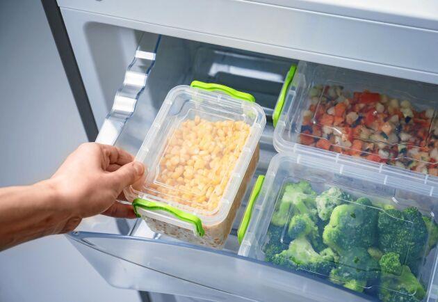 Grönsaker kan hålla i upp till ett år i frysen.