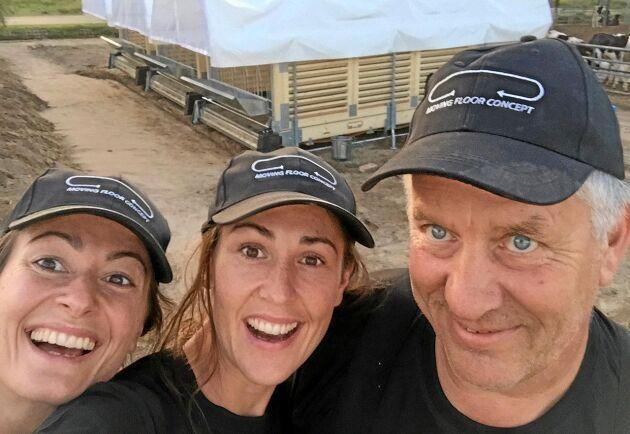 Systrarna Peg Söderberg, VD och Katja Lindvall, vice VD, på plats i Kina tillsammans med installatören Alf Johansson.