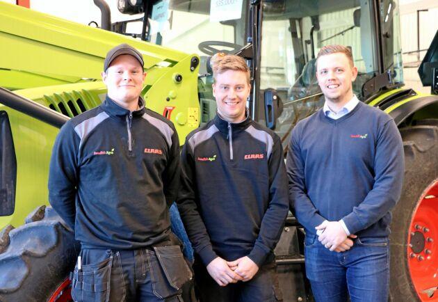Servicetekniker Anton Nilsson, servicetekniker Jacob Carlsson och säljare Alexander Håkansson jobbar på anläggningen i Alvesta.