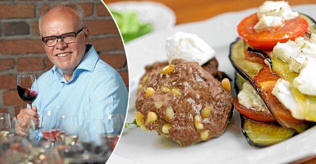 Håkans Larssons pinjenötsbiffar med aubergine och getostbakelse. Låter kanske svårt men är hur enkelt som helst att laga.
