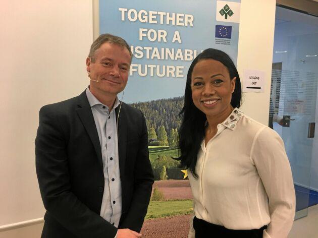 Johan Kuylenstierna, Stockholm Environment Institute, och Alice Bah Kuhnke förstanamn på MP-listan i EU-valet samtalade inför LRF-debatten om hållbara transporter.
