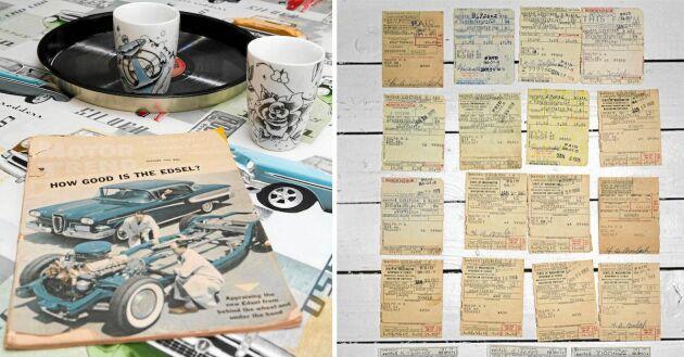 Gammal annons för favorit bilen Edsel. Och den egna Edselns gamla registreringsbevis.