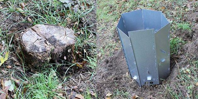 Elda bort stubben med hjälp av nya innovationen Stubbskorstenen.