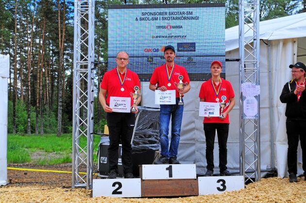 Skotar-SM. Vinnaren Johan Larsson flankeras av tvåan Martin Henrysson och trean Jacob Wennebring.