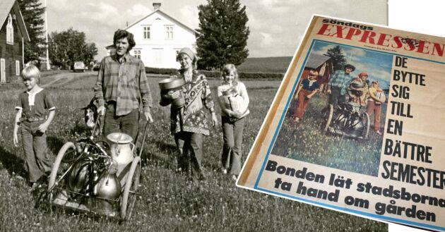 Arbetsbytet gav eko i Expressen. Björn, Olle, Vivianne och Pia hjälptes åt med sysslorna på gården.