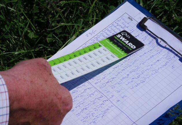 Tomas Olsson använder sig av en mätsticka och fyller sedan i statistik över hur långt gräset är.