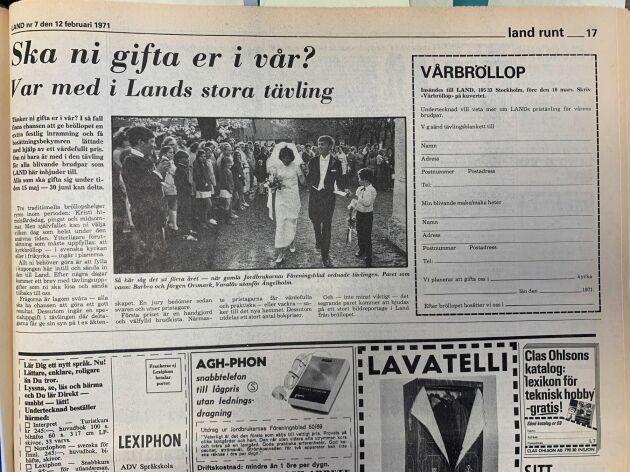 Bröllopstävlingen i Land 1971.