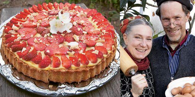 Mandelmanns jordgubbspaj med chokladkräm
