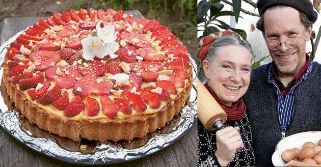 Drömpaj med jordgubbar och choklad är Mandemanns populäraste bakverk i gårdskaféet på Djupadal.