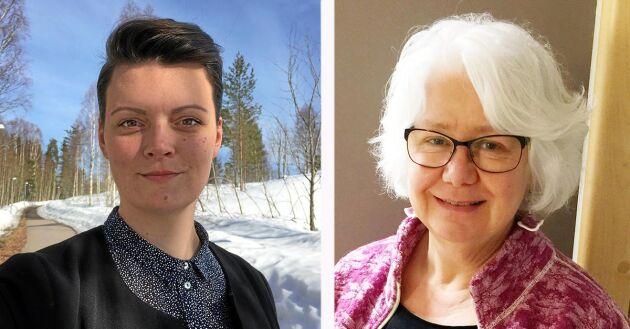 Isabella Hallberg Sramek (vänster), jägmästarstudent från Sundsvall, vill se snabba förändringar inom skogsbranschen. Det ska vara slut på sexism ochtrakasserier. Ann Dolling, vicedekan på fakulteten för skogsvetenskap (höger).
