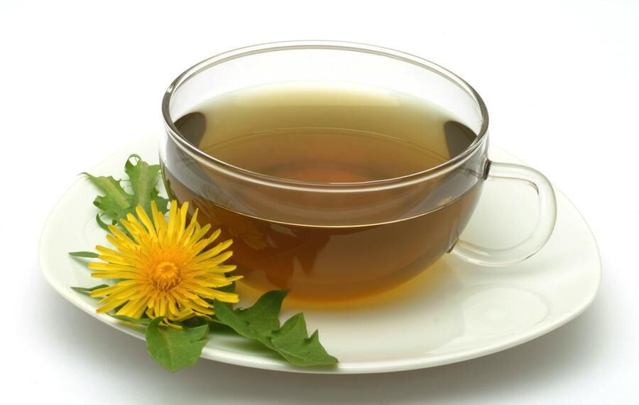 medicinal tea made of Taraxacum officinale Medicinal plant common Dandelion Tea Pianta medicinale Soffione Dente de leone te