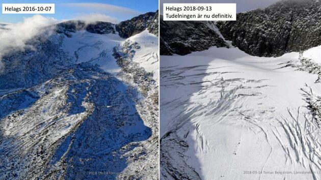 Helags i Härjedalen har på två år kommit att dela upp sig. Till vänster en bild från 2016, till höger en från i år.