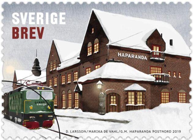 Frimärket med Haparanda station som motiv.