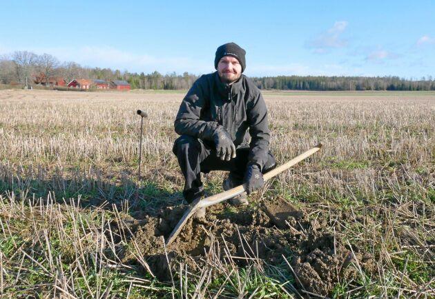 Karl Fernholm odlar ekologiskt och har en utmaning att klara ogrästrycket utan varken plöjning eller glyfosat.