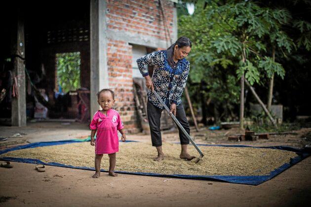 Risbonden Kimla Bun och barnbarnet Hoeun chinna från Kambodja.