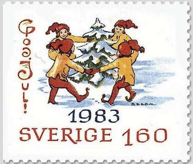 Julfrimärke av Gun Larsson 1983.