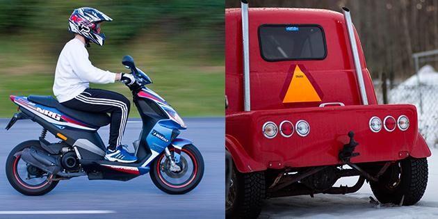 En förare fick föras till sjukhus efter att en moped och en A-traktor krockat i Halmstad under lördagskvällen.