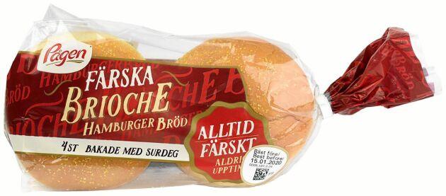 Trea på matbluffslistan 2019 är Pågen med sina 'Brioche hamburgerbröd'.