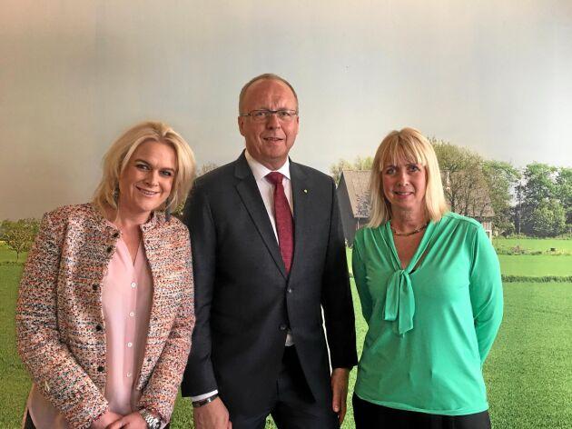 Sofia Hyléen Toresson, vd för HK Scan Sverige, Anders Källström, vd för LRF samt Elisabeth Ringdahl, chef för division Lantbruk vid Lantmännen, har tillväxt i sikte för det nya gemensamma bolaget.