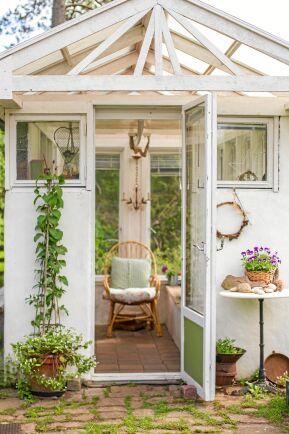 Ingång till Birgittas vitmålade växthus. Intill dörren knoppas en blå klematis.