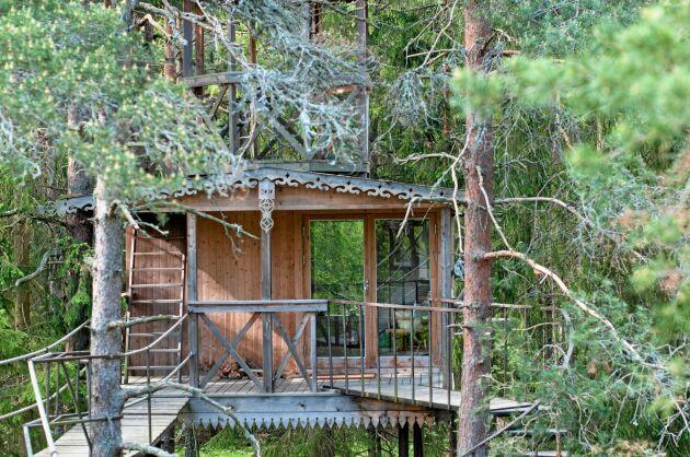 Urnatur erbjuder häftiga trädkojor dit du vandrar upp på stegar eller hängbroar för att tillbringa natten.