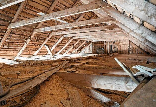 Vinden en trappa upp har stora behov av renovering – men också stor potential.