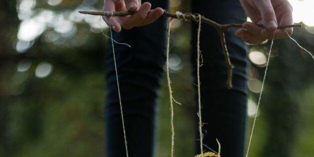 Naturen kommer till liv med marionettdocka med kastanjefötter