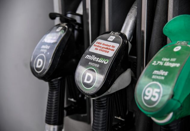 Priserna steg under fredagen på bensin, diesel och HVO-100. Arkivbild.