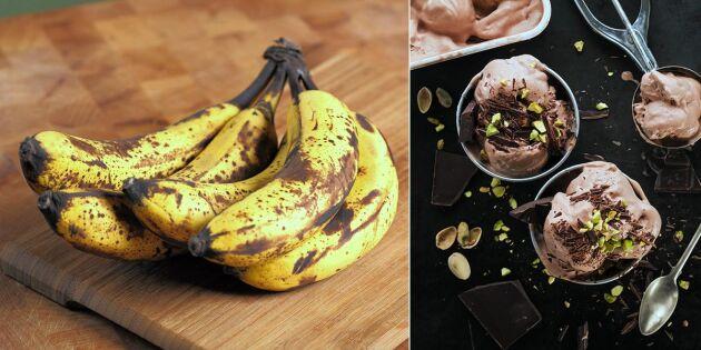 Nice cream: Supersnabb bananglass med kakao och jordnötssmör