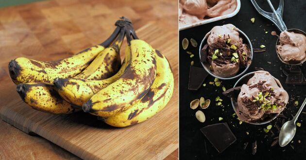 Choklad nice cream görs på banan, kakao och jordnötssmör och smakar himmelskt gott!