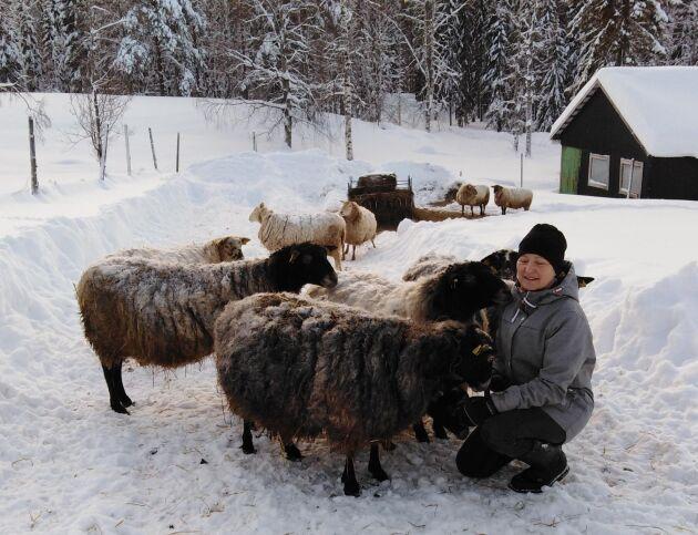 Annika Nyberg med fåren.