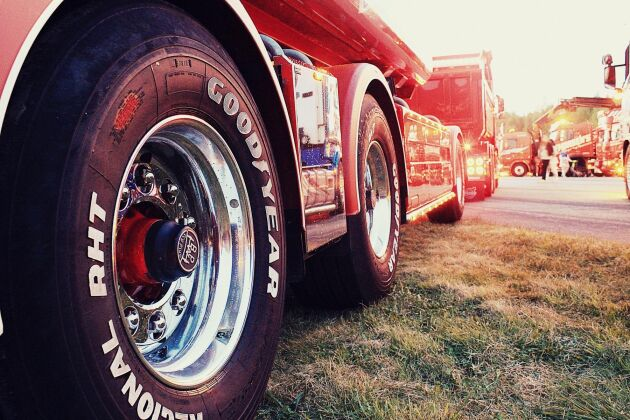 Ett 20-tal lastbilar deltog i kortagen. Bilden är från ett annat tillfälle.