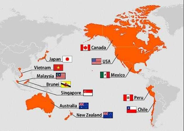 Länderna som förhandlat om TPP-avtalet.