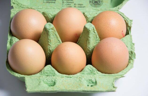 I Sverige förvaras oftast äggen i kylskåp och innehåller ingen salmonella, skriver företrädare för Svenska Ägg.