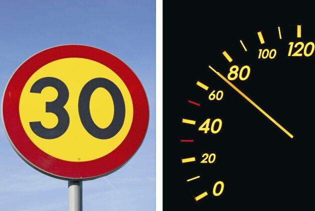 Mannen erkänner olovlig körning, men förnekar att han har uppfattat att han har kört fortare än 30 kilometer i timmen.