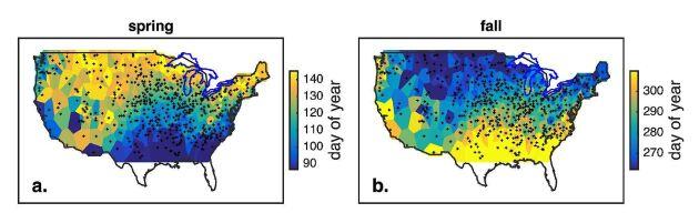 Färgerna som avslöjar den amerikanska frosten. Till vänster syns sista dagen med vårfrost, till höger första höstfrosten. Blåare färger betyder tidigare datum.