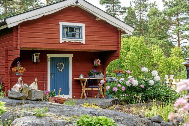 I Sivans ateljé både målar hon och skapar i lera. Framför växer en av parets favoritblommor – pioner. De vita är av sorten Festiva Maxima och de rosa Pink Parfait. Trädgården utgörs av flera berg, som de planterar både i och kring.