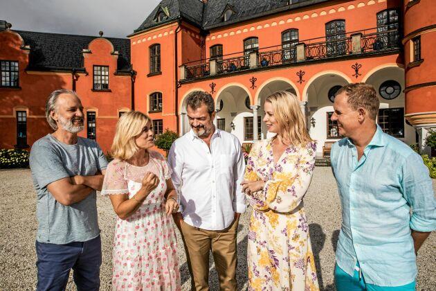 Årets stjärnor på slottet i Svt: Björn Kjellman, Pernilla Wahlgren, Dragomir Mrsic, Julia Dufvenius och Måns Möller.