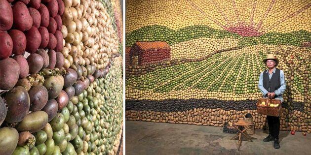 """Kolla in maffiga tavlan – gjord helt av potatis: """"Folk var hänförda"""""""