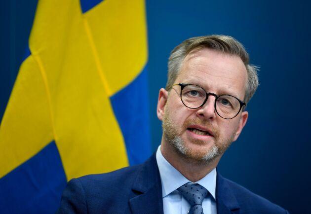 Inrikesminister Mikael Damberg (S) vid en pressträff tidigare i veckan.
