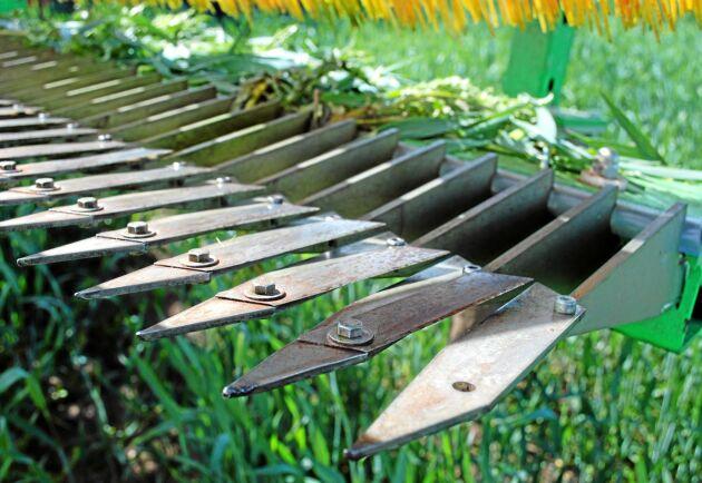 Det är dessa knivar som skär av tistlarna. På Ullevi kommer man byta knivarna när de blir för slitna. Det kräver dock en del arbetstid.