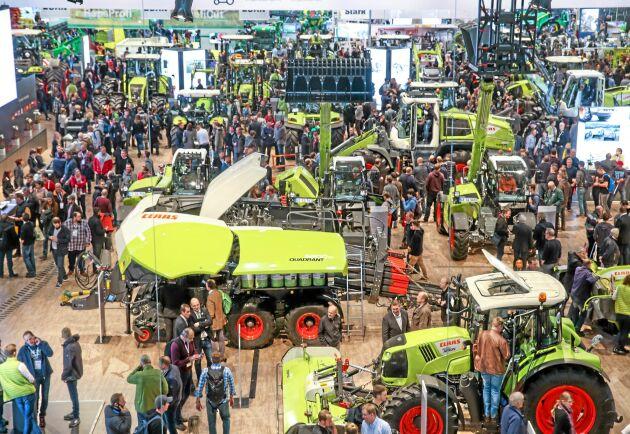 Lantbruksmässornas betydelse för att utveckla lantbruket är svårt att överskatta. Här bild från Agritechnica i Hannover 2017. 2021 väntas mässan vara tillbaka 14-20 november.