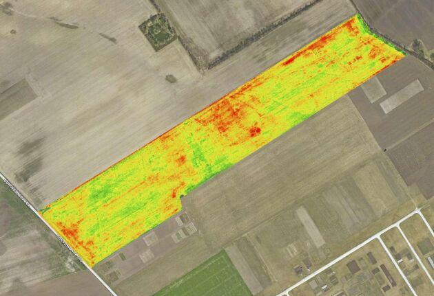 Så här ser den första databearbetningen ut i Solvis tjänst efter att vi har angett våra fältgränser. Flygningen är gjord över ett fält vid Borgeby.