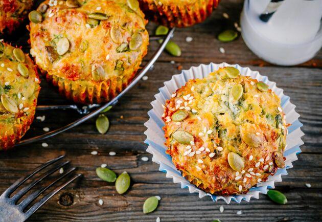 Fröiga muffins kan med fördel ersätta ditt vanliga frukostbröd.