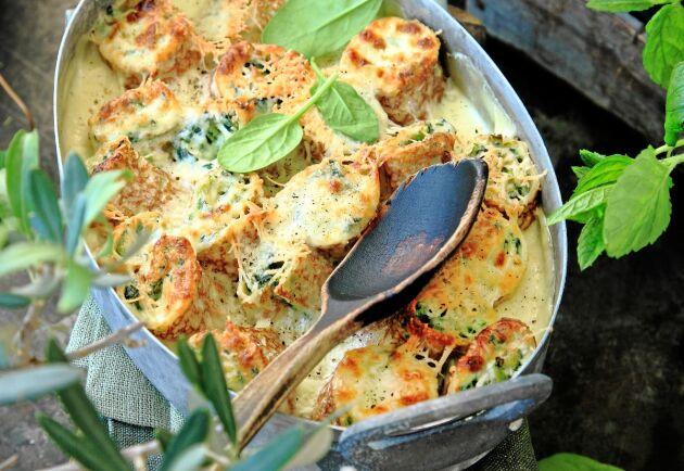 Crêpes går bra att förbereda och gratinera när det är matdags.